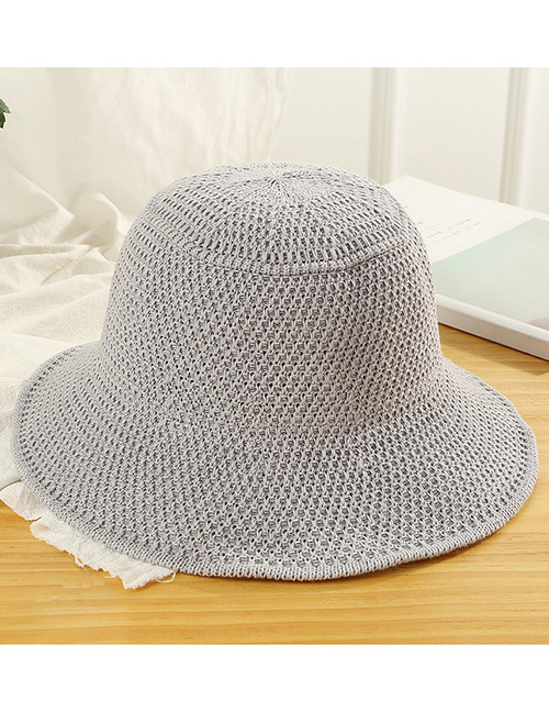Trendy Gray Knitted Design Pure Color Sunscreen Hat