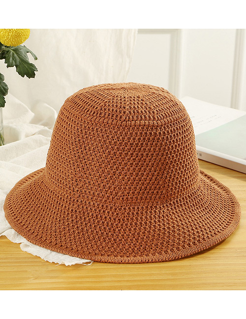 Trendy Brown Knitted Design Pure Color Sunscreen Hat