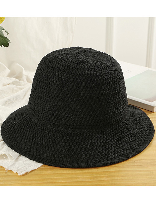 Trendy Black Knitted Design Pure Color Sunscreen Hat