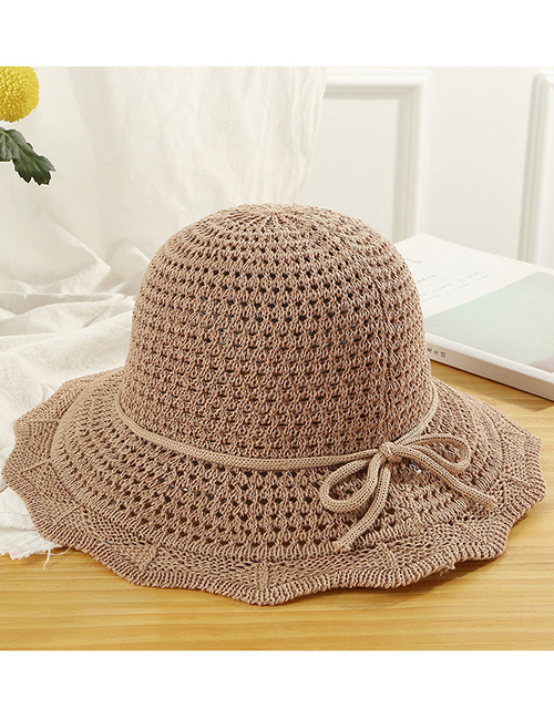 Trendy Khaki Hollow Out Design Casual Fisherman Hat