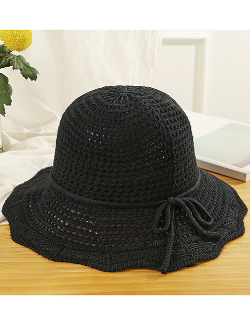 Trendy Black Hollow Out Design Casual Fisherman Hat