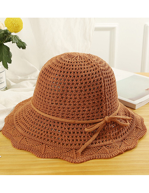 Trendy Brown Hollow Out Design Casual Fisherman Hat