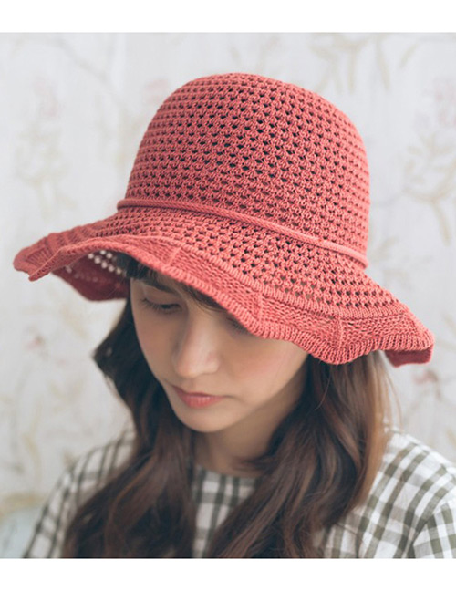 Trendy Red Hollow Out Design Casual Fisherman Hat
