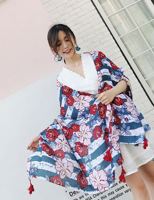 Fashion Red+blue Flower Pattern Decorated Dual-use Scarf