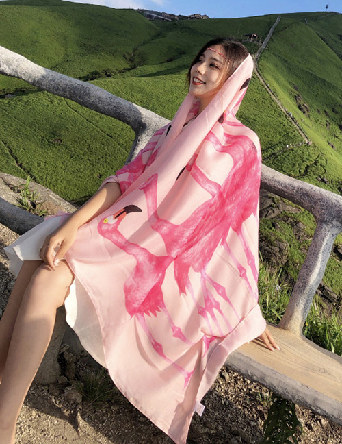 Fashion Pink Flamingos Pattern Decorated Dual-use Scarf
