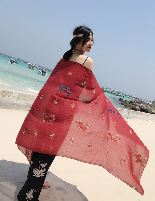 Fashion Red Boat Pattern Decorated Dual-use Scarf