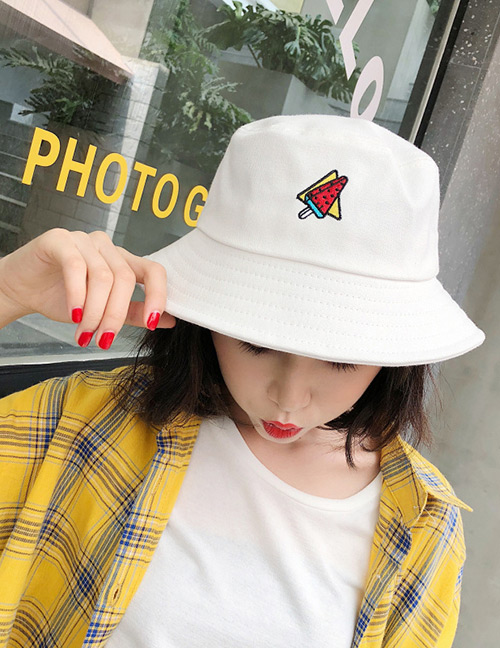 Fashion White Ice Cream Pattern Decorated Leisure Cap