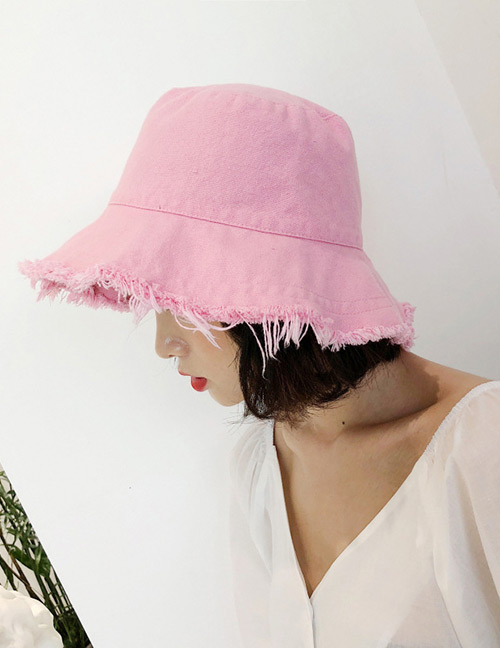 Fashion Pink Pure Color Design Leisure Fisherman Hat