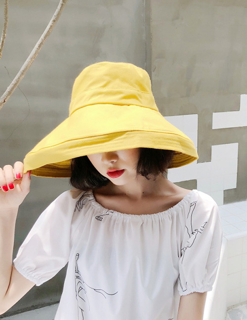 Fashion Light Yellow Pure Color Design Foldable Sunscreen Hat