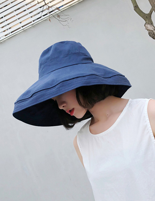 Fashion Navy Pure Color Design Foldable Sunscreen Hat