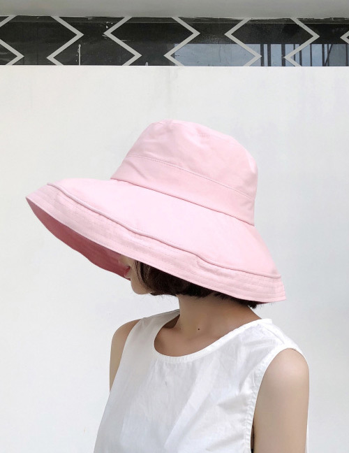 Fashion Pink Pure Color Design Foldable Sunscreen Hat