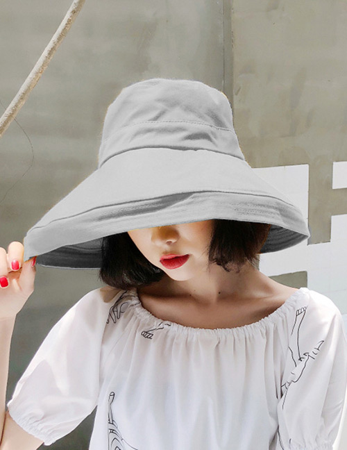 Fashion Gray Pure Color Design Foldable Sunscreen Hat