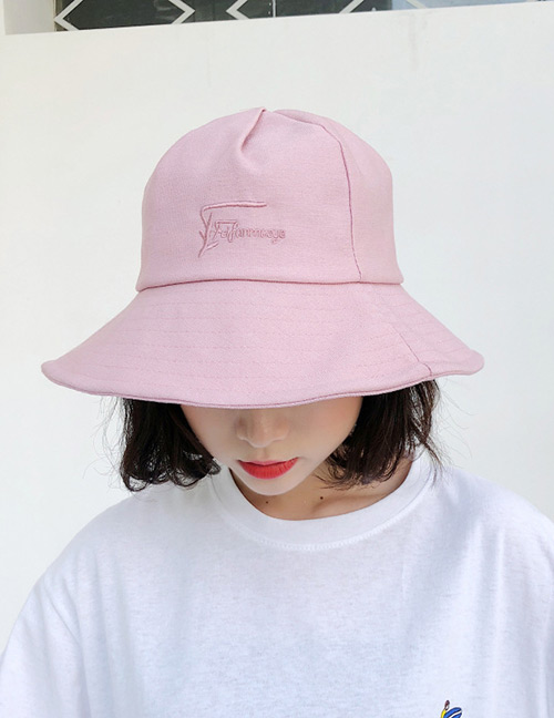 Fashion Pink Embroidered Letter Decorated Sunscreen Hat