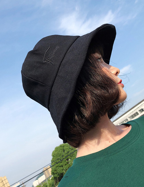 Fashion Black Embroidered Letter Decorated Sunscreen Hat