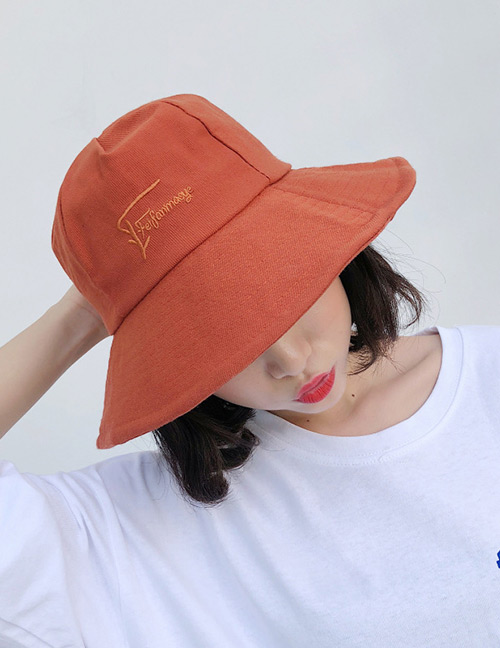 Fashion Brown Embroidered Letter Decorated Sunscreen Hat
