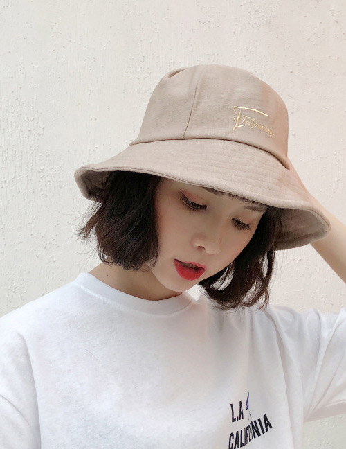 Fashion Khaki Embroidered Letter Decorated Sunscreen Hat