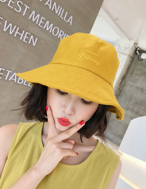 Fashion Light Yellow Embroidered Letter Decorated Sunscreen Hat