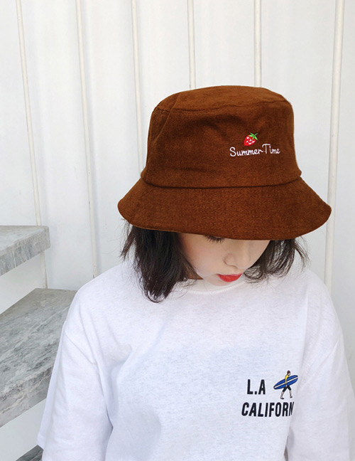 Fashion Brown Strawberry Pattern Decorated Sunscreen Hat
