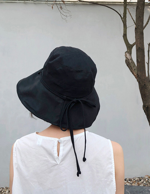 Fashion Black Bandage Design Pure Color Foldable Hat
