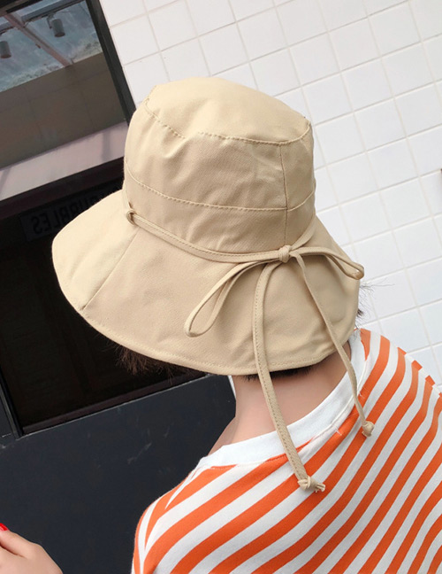 Fashion Khaki Bandage Design Pure Color Foldable Hat