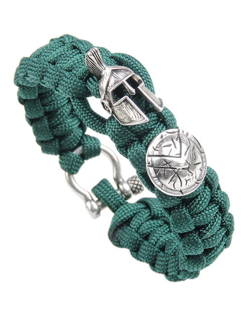 Fashion Dark Green Helmet&shield Decorated Simple Bracelet