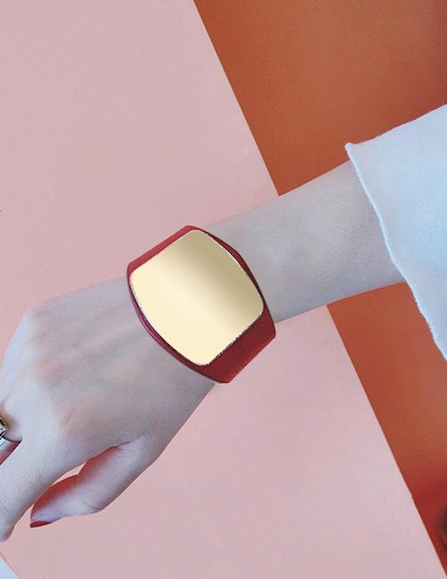 Elegant Red Square Shape Decorated Width Bracelet