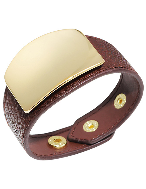 Elegant Brown Square Shape Decorated Width Bracelet