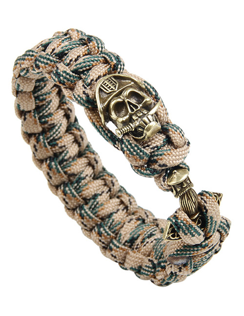 Vintage Khaki+green Skull Decorated Hand-woven Bracelet
