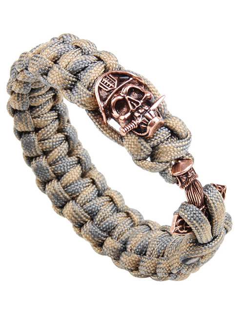 Vintage Khaki Skull Decorated Hand-woven Bracelet