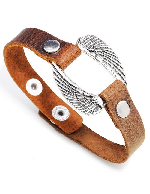 Elegant Brown Wings Decorated Simple Bracelet