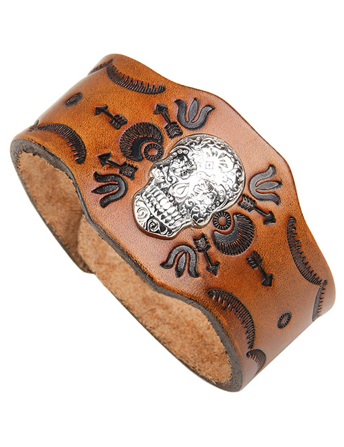 Fashion Brown Skull Pattern Decorated Bracelet