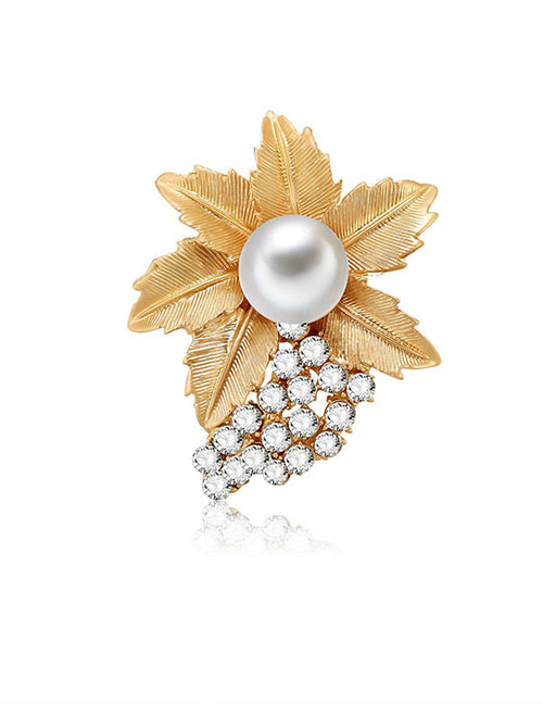 Fashion Gold Color Leaf&pearls Decorated Brooch