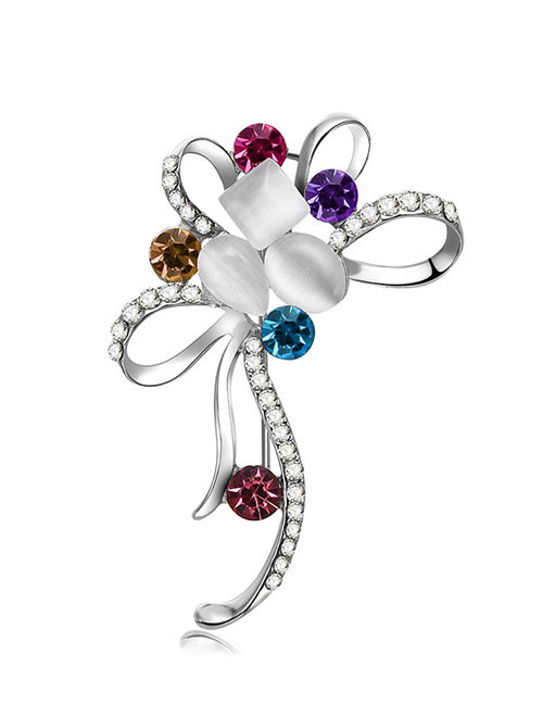 Fashion Silver Color Flower Shape Design Simple Brooch