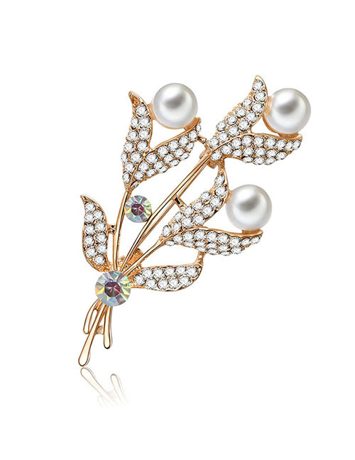 Fashion Gold Color Full Diamond Design Leaf Shape Brooch