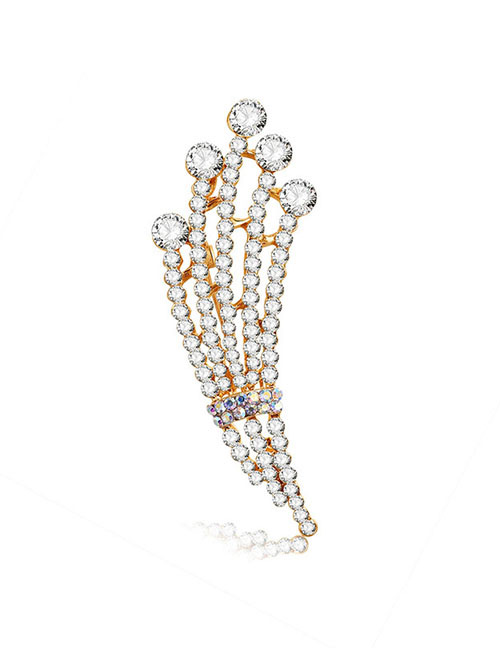 Fashion Gold Color Full Diamond Design Hollow Out Brooch
