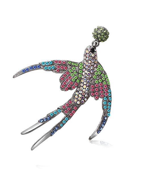 Fashion Multi-color Swallow Shape Design Color Matching Brooch