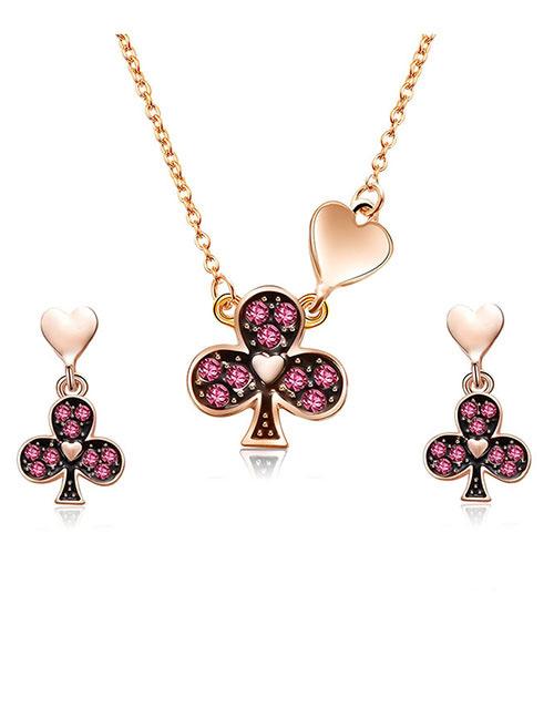 Fashion Rose Gold Plum Blossom Shape Design Jewelry Sets