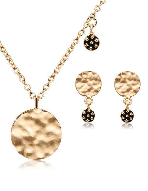 Fashion Gold Color Round Shape Design Jewelry Sets