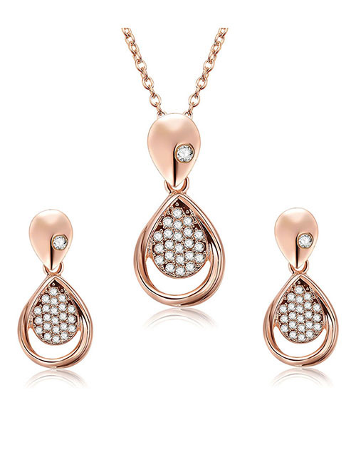 Fashion Rose Gold Water Drop Shape Decorated Jewelry Sets