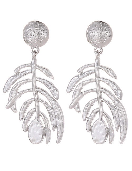 Elegant Silver Color Leaf Shape Design Pure Color Earrings