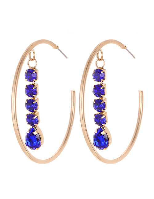Elegant Sapphire Blue Diamond Decorated C Shape Earrings