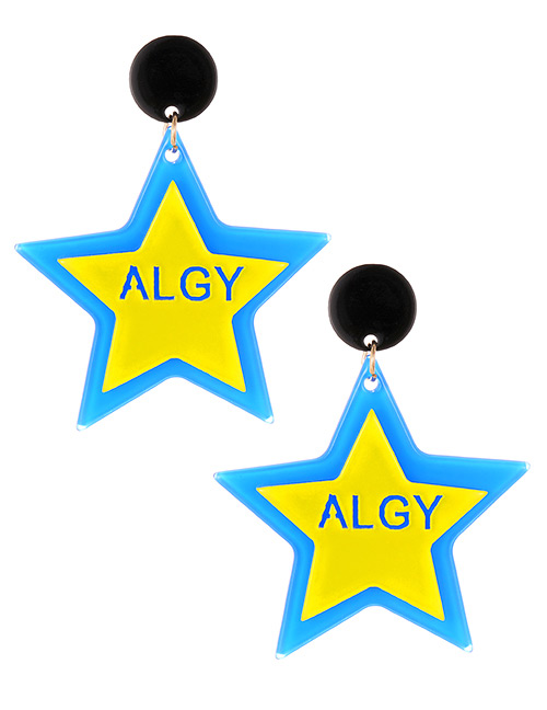 Elegant Blue Letter Pattern Design Star Shape Earrings