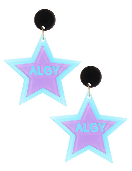 Elegant Pale Green Letter Pattern Design Star Shape Earrings