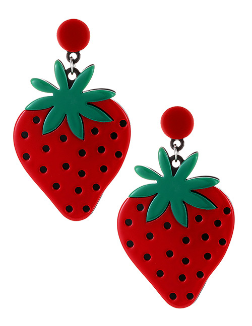 Elegant Red Strawberry Shape Design Earrings