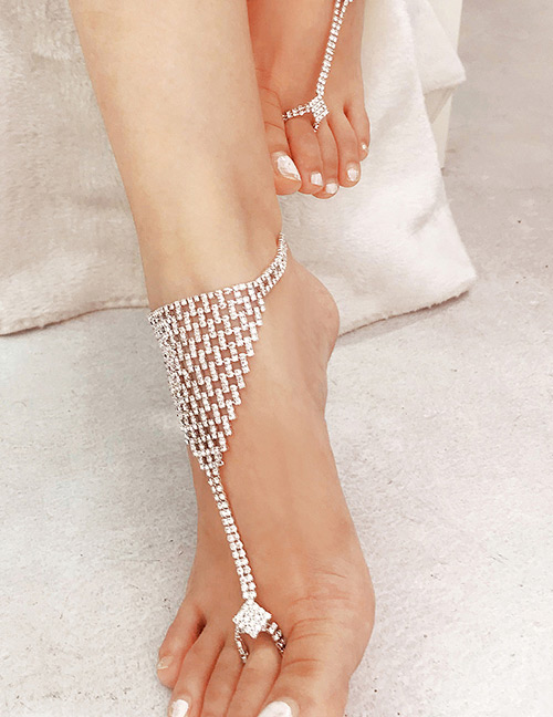 Fashion Silver Color Full Diamond Decorated Pure Color Anklet(1pc)