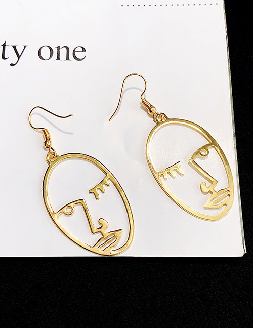Elegant Gold Color Face Shape Design Pure Color Earrings