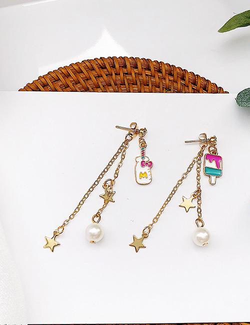 Elegant Plum Red+green Pearls&star Shape Decorated Tassel Earrings