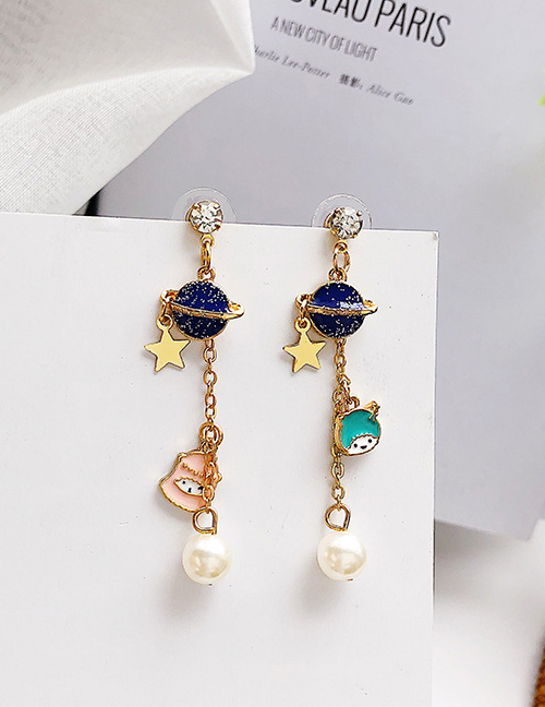 Elegant Navy+green Planet&star Shape Decorated Tassel Earrings