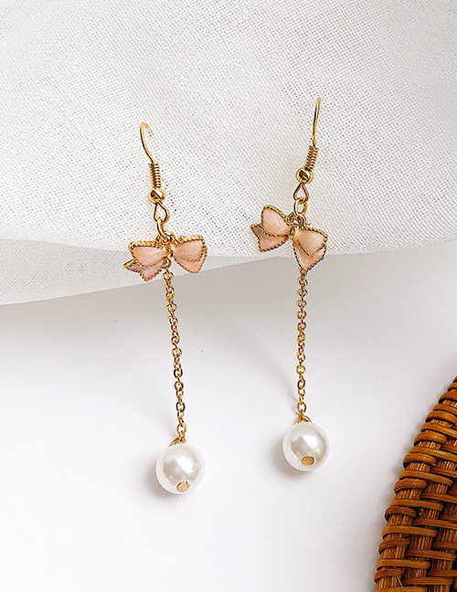 Elegant Gold Color+pink Bowknot&pearls Decorated Long Earrings