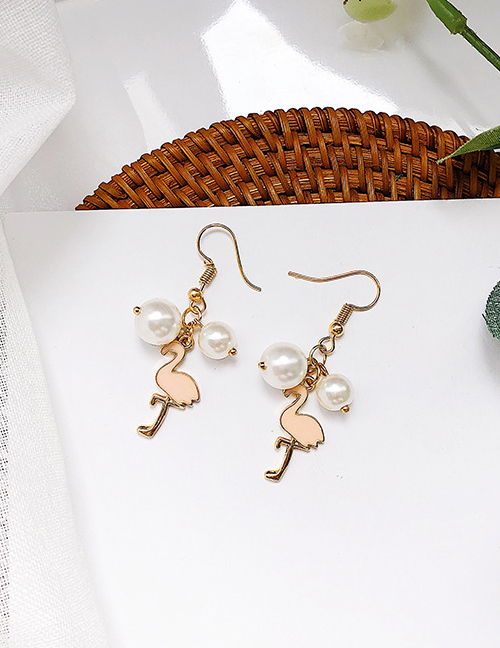 Elegant Gold Color+pink Flamingo&pearls Decorated Long Earrings